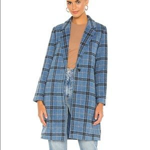 Cupcakes and Cashmere Robyn Blue Plaid Coat NWT